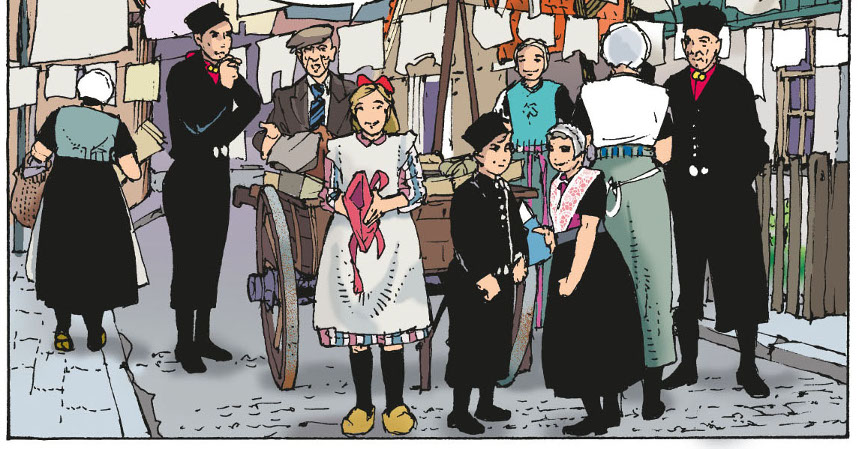 Japien met zijn koopwaar op geleende kar door de straatjes van Urk
